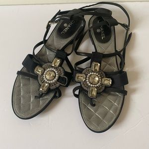 CHANEL jeweled sandals 38.5